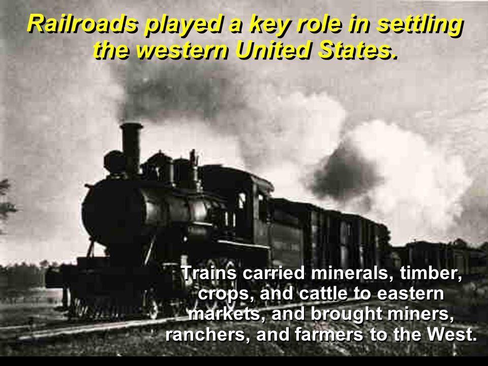Trains carried minerals, timber, crops, and cattle to eastern markets, and brought miners, ranchers, and farmers to the West.