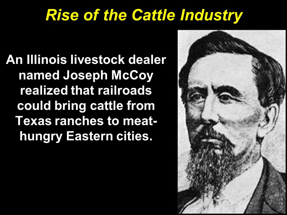 Rise of the Cattle Industry An Illinois livestock dealer named Joseph McCoy realized that railroads could bring cattle from Texas ranches to meat- hungry Eastern cities.