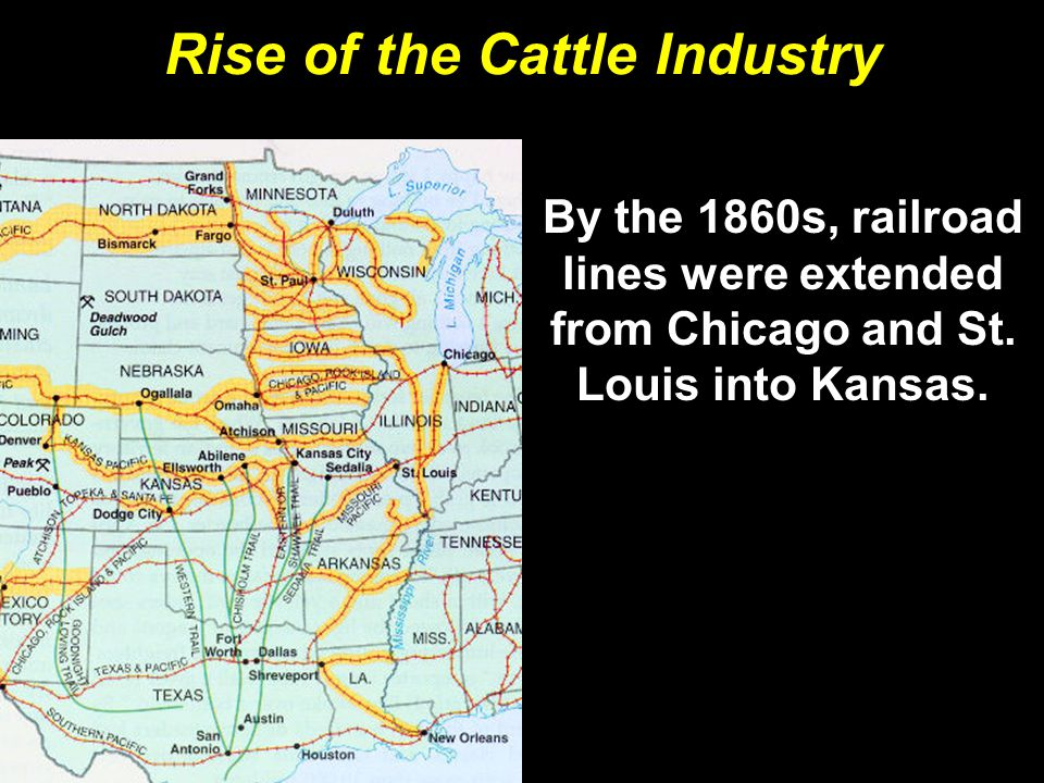 Rise of the Cattle Industry By the 1860s, railroad lines were extended from Chicago and St.
