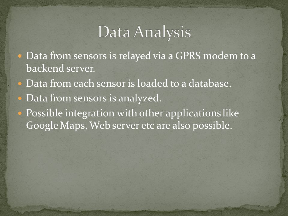 Data from sensors is relayed via a GPRS modem to a backend server.