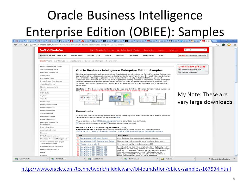 Oracle Business Intelligence Enterprise Edition (OBIEE): Samples 6 http://www.oracle.com/technetwork/middleware/bi-foundation/obiee-samples-167534.html My Note: These are very large downloads.