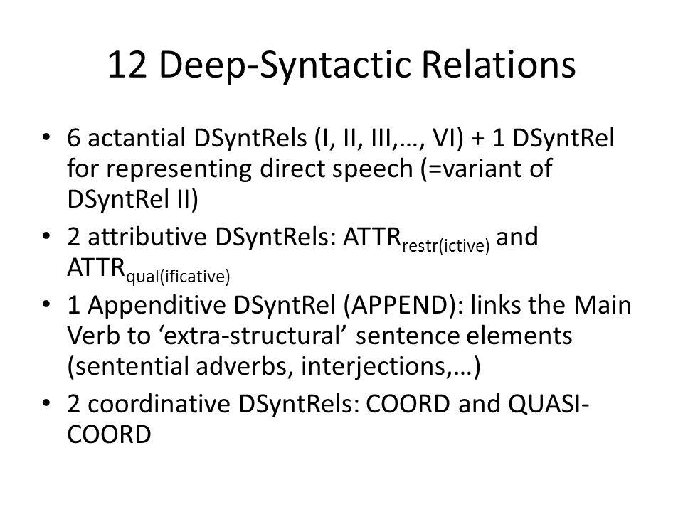 12 Deep-Syntactic Relations 6 actantial DSyntRels (I, II, III,…, VI) + 1 DSyntRel for representing direct speech (=variant of DSyntRel II) 2 attributive DSyntRels: ATTR restr(ictive) and ATTR qual(ificative) 1 Appenditive DSyntRel (APPEND): links the Main Verb to 'extra-structural' sentence elements (sentential adverbs, interjections,…) 2 coordinative DSyntRels: COORD and QUASI- COORD