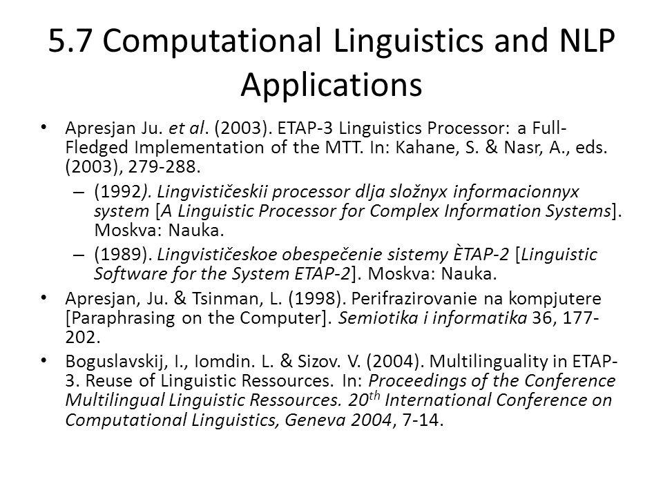 5.7 Computational Linguistics and NLP Applications Apresjan Ju.