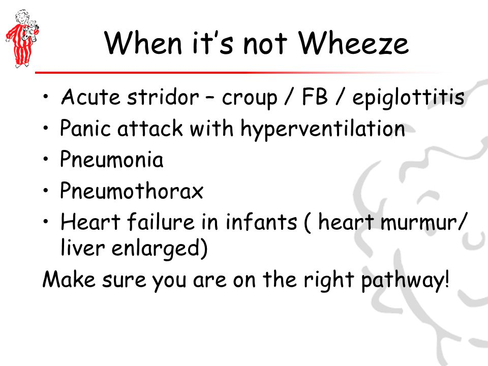 When it's not Wheeze Acute stridor – croup / FB / epiglottitis Panic attack with hyperventilation Pneumonia Pneumothorax Heart failure in infants ( heart murmur/ liver enlarged) Make sure you are on the right pathway!