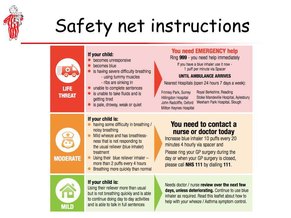 Safety net instructions