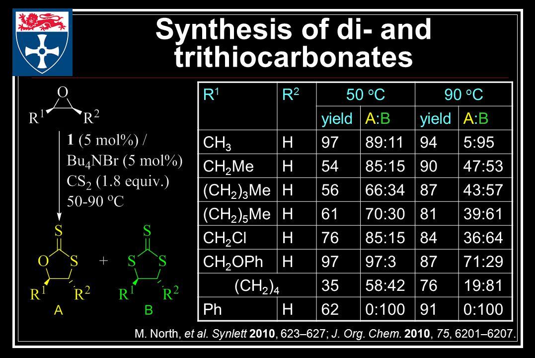 Synthesis of di- and trithiocarbonates M. North, et al.