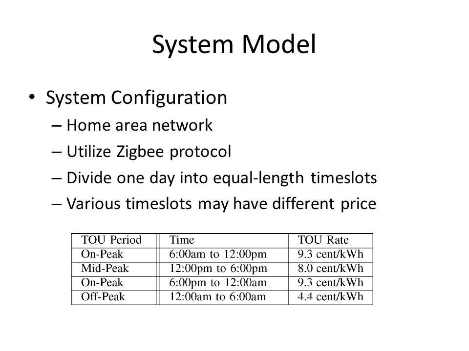 System Model System Configuration – Home area network – Utilize Zigbee protocol – Divide one day into equal-length timeslots – Various timeslots may have different price