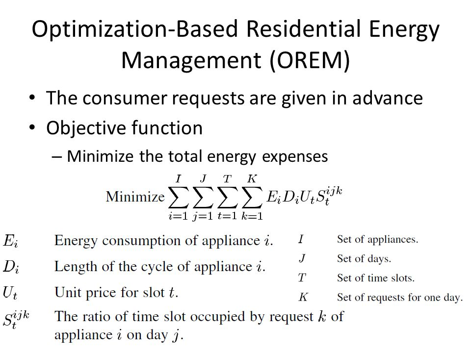 Optimization-Based Residential Energy Management (OREM) The consumer requests are given in advance Objective function – Minimize the total energy expenses