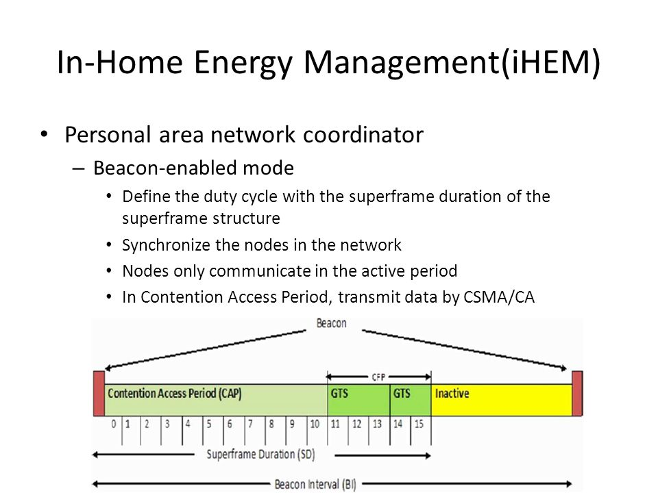 Personal area network coordinator – Beacon-enabled mode Define the duty cycle with the superframe duration of the superframe structure Synchronize the nodes in the network Nodes only communicate in the active period In Contention Access Period, transmit data by CSMA/CA