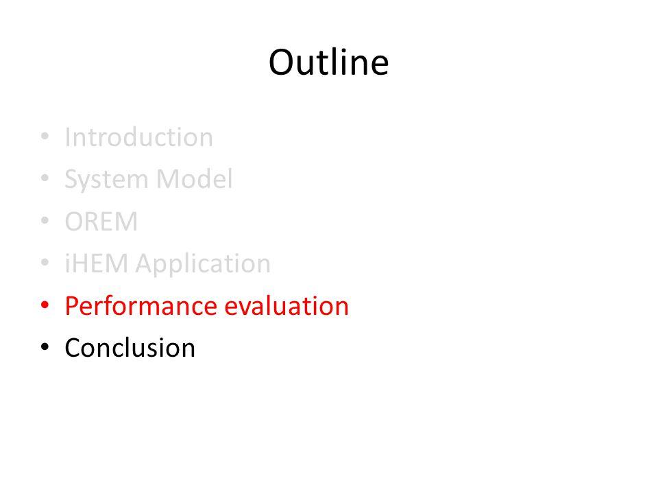 Outline Introduction System Model OREM iHEM Application Performance evaluation Conclusion