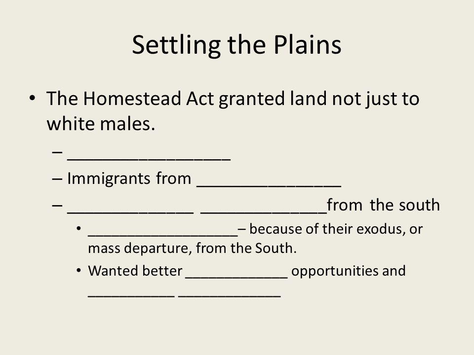 Settling the Plains The Homestead Act granted land not just to white males.