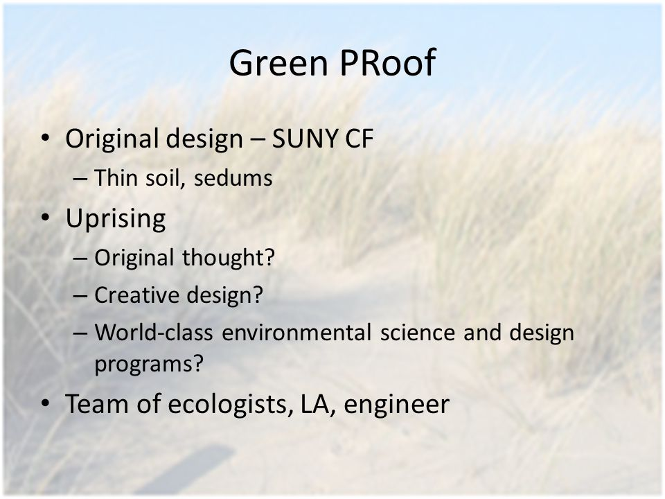 Green PRoof Original design – SUNY CF – Thin soil, sedums Uprising – Original thought.