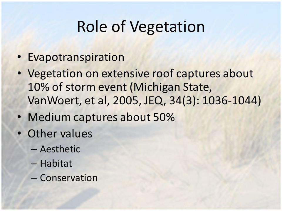 Role of Vegetation Evapotranspiration Vegetation on extensive roof captures about 10% of storm event (Michigan State, VanWoert, et al, 2005, JEQ, 34(3