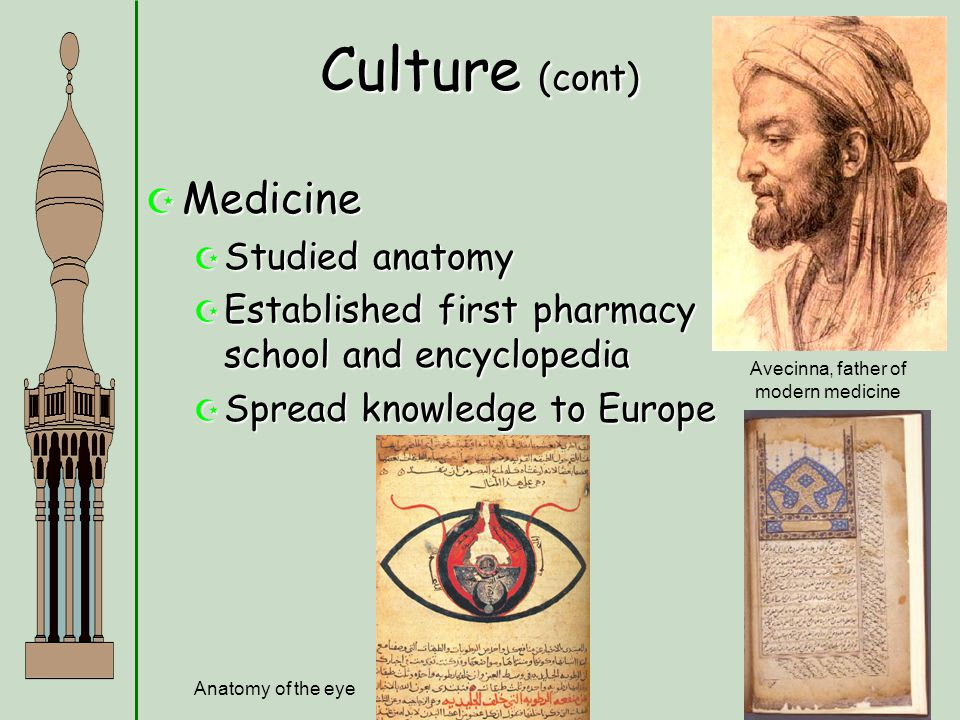 Culture (cont)  Medicine  Studied anatomy  Established first pharmacy school and encyclopedia  Spread knowledge to Europe Avecinna, father of mode