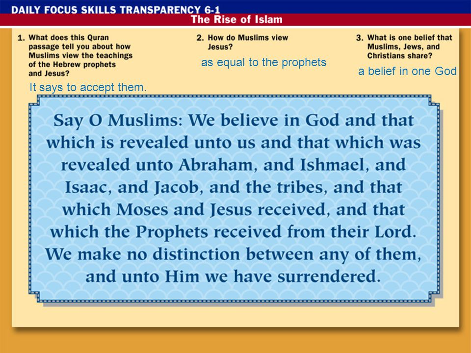 It says to accept them. as equal to the prophets a belief in one God