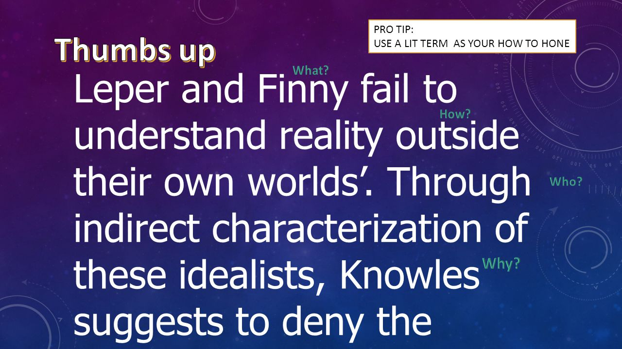 Leper and Finny fail to understand reality outside their own worlds'.
