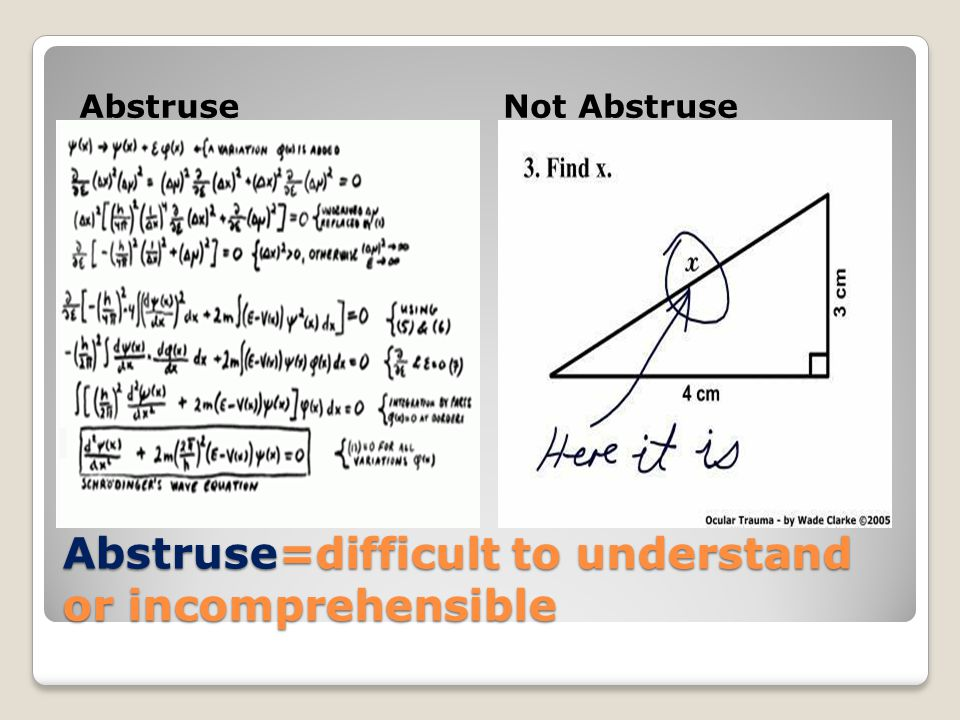 Abstruse=difficult to understand or incomprehensible AbstruseNot Abstruse