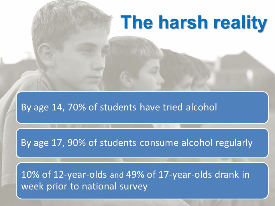 4 By age 14, 70% of students have tried alcohol By age 17, 90% of students consume alcohol regularly 10% of 12-year-olds and 49% of 17-year-olds drank in week prior to national survey The harsh reality