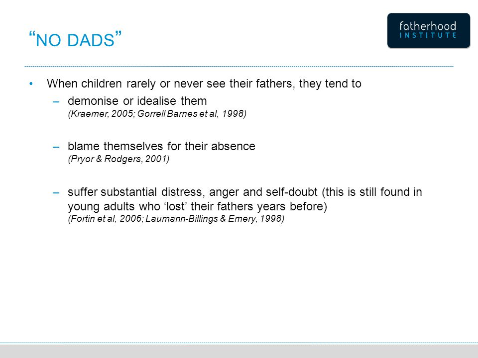 NO DADS When children rarely or never see their fathers, they tend to –demonise or idealise them (Kraemer, 2005; Gorrell Barnes et al, 1998) –blame themselves for their absence (Pryor & Rodgers, 2001) –suffer substantial distress, anger and self-doubt (this is still found in young adults who 'lost' their fathers years before) (Fortin et al, 2006; Laumann-Billings & Emery, 1998)
