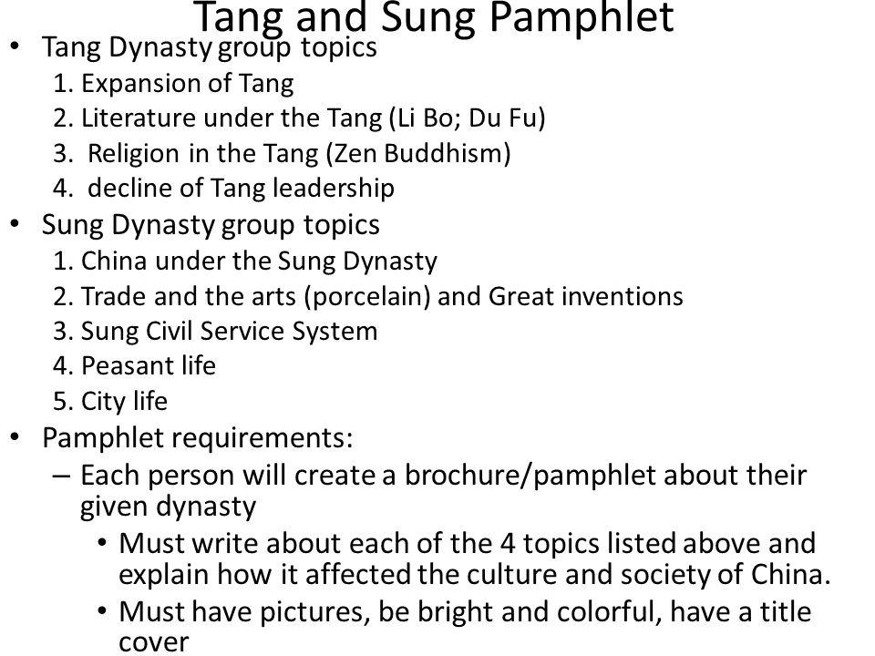 Tang Dynasty Notes Expansion under the Tang Literature under the Tang – Li Bo – Du Fu Religion under Tang Decline of the Tang