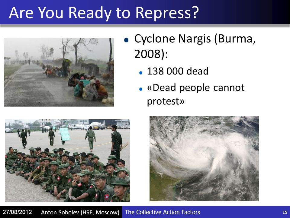The Collective Action Factors Anton Sobolev (HSE, Moscow) 27/08/2012 Cyclone Nargis (Burma, 2008): 138 000 dead «Dead people cannot protest» Are You Ready to Repress.