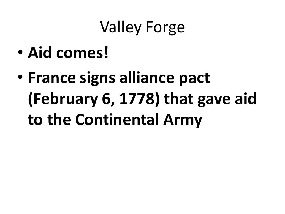 Valley Forge Aid comes.