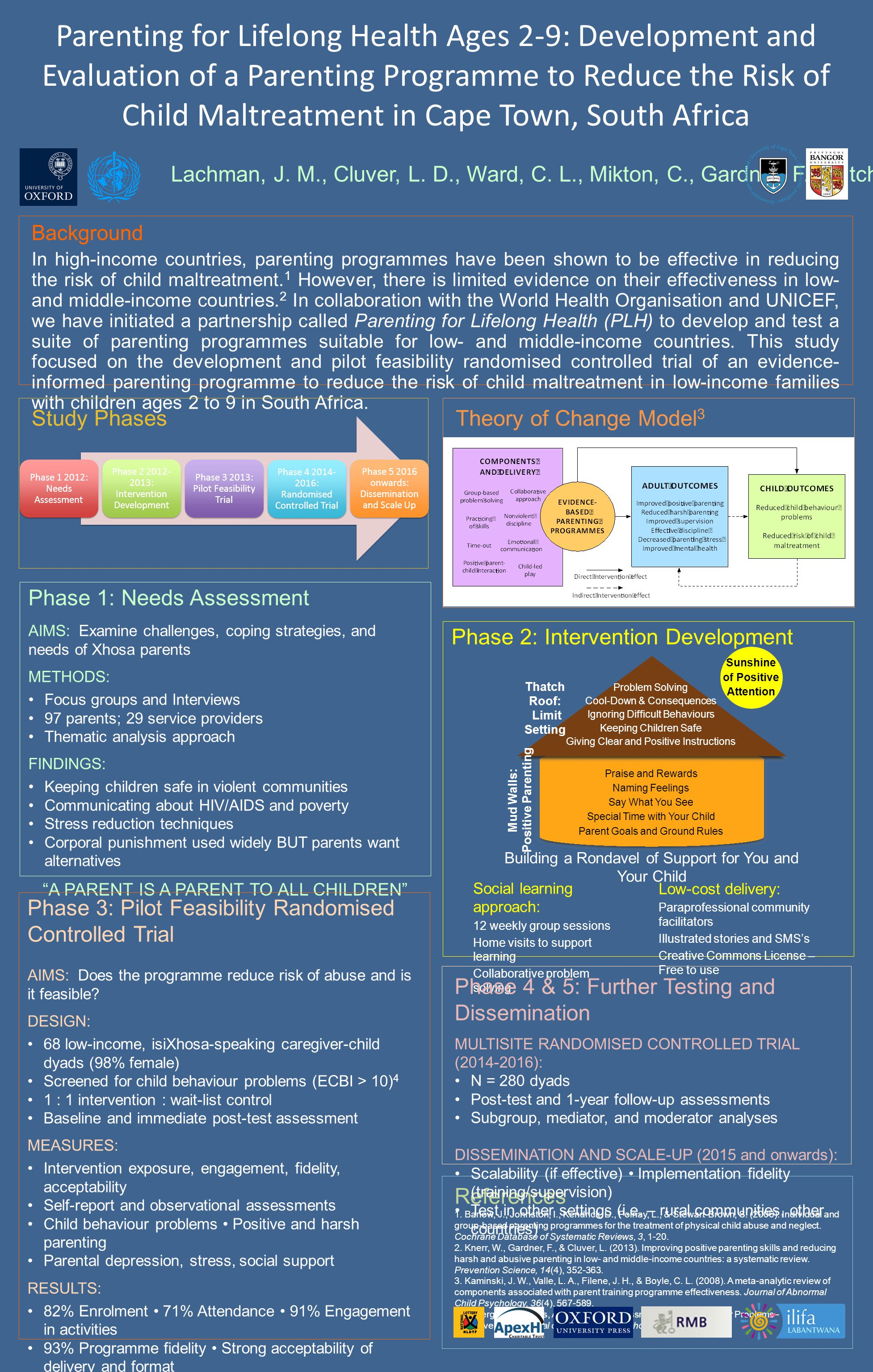 Phase 2: Intervention Development Parenting for Lifelong Health Ages 2-9: Development and Evaluation of a Parenting Programme to Reduce the Risk of Child Maltreatment in Cape Town, South Africa Background In high-income countries, parenting programmes have been shown to be effective in reducing the risk of child maltreatment.