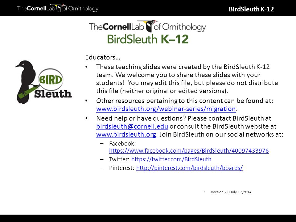 BirdSleuth K-12 Educators… These teaching slides were created by the BirdSleuth K-12 team. We welcome you to share these slides with your students! Yo