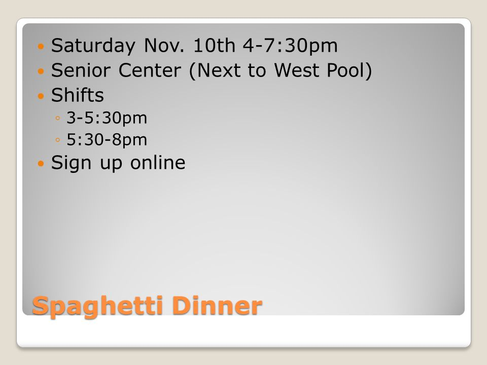 Spaghetti Dinner Saturday Nov.