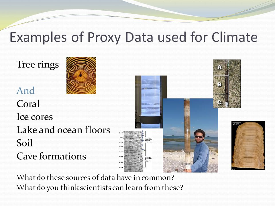 Examples of Proxy Data used for Climate Tree rings And Coral Ice cores Lake and ocean floors Soil Cave formations What do these sources of data have in common.