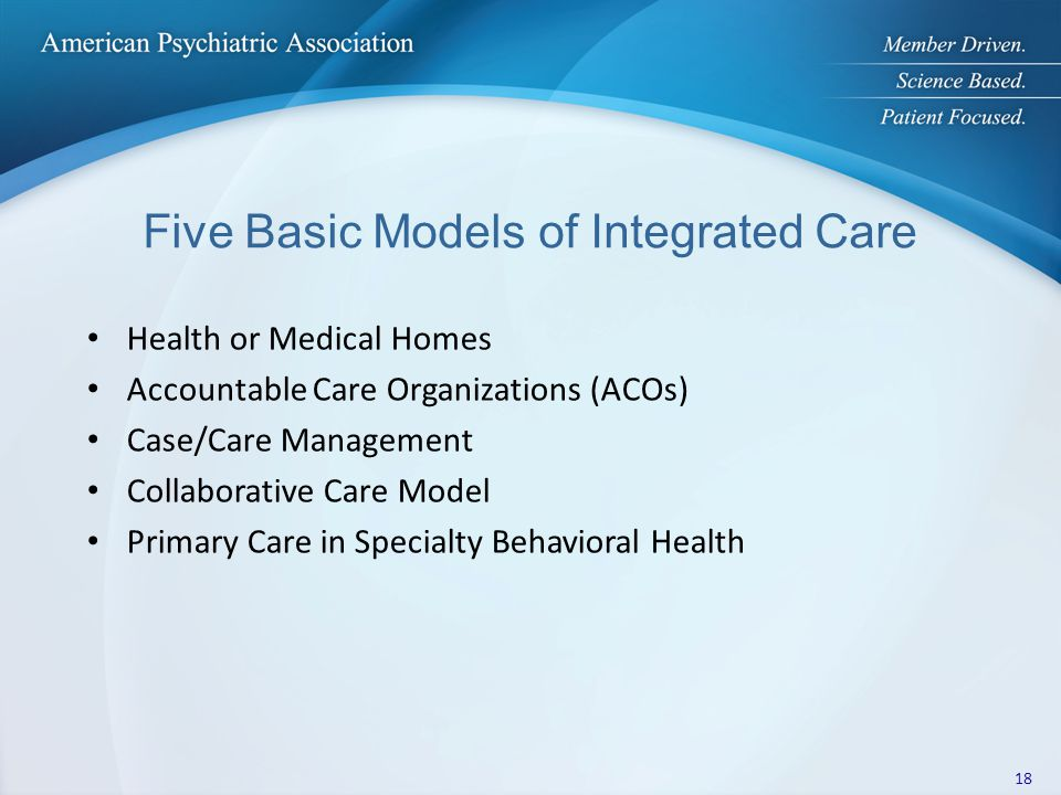 Five Basic Models of Integrated Care Health or Medical Homes Accountable Care Organizations (ACOs) Case/Care Management Collaborative Care Model Primary Care in Specialty Behavioral Health 18
