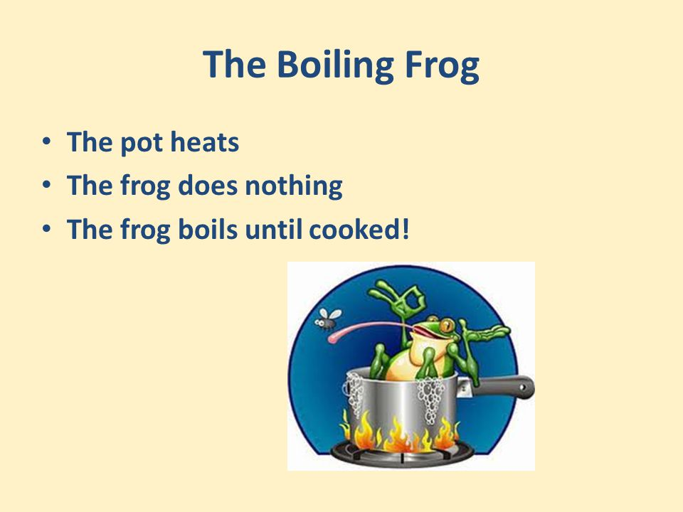 The Boiling Frog The pot heats The frog does nothing The frog boils until cooked!