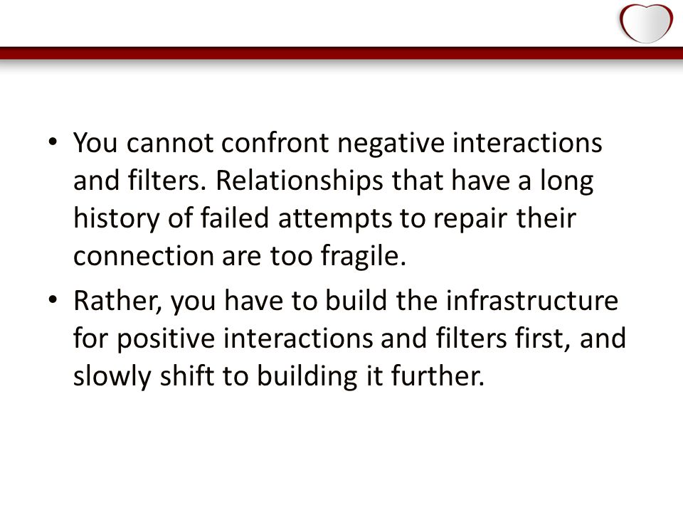 You cannot confront negative interactions and filters.