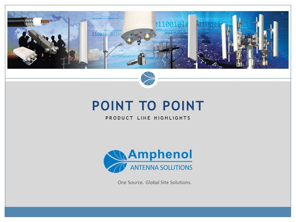 POINT TO POINT PRODUCT LINE HIGHLIGHTS One Source. Global Site Solutions.