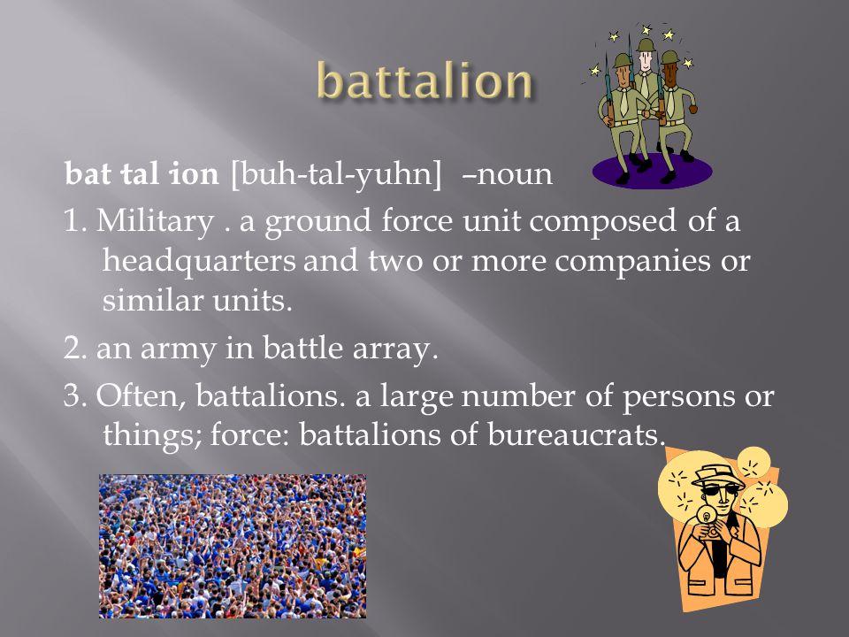 bat·tal·ion [buh-tal-yuhn] –noun 1. Military.