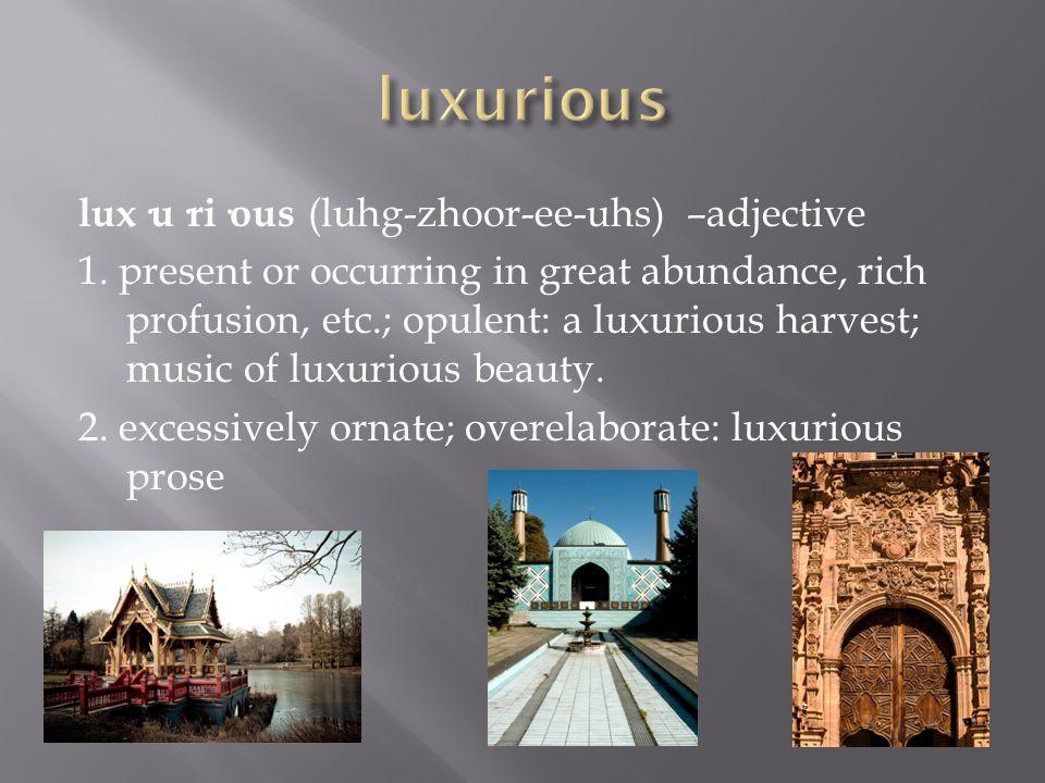 lux·u·ri·ous (luhg-zhoor-ee-uhs) –adjective 1.