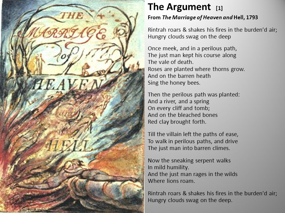 The Argument [1] From The Marriage of Heaven and Hell, 1793 Rintrah roars & shakes his fires in the burden d air; Hungry clouds swag on the deep Once meek, and in a perilous path, The just man kept his course along The vale of death.