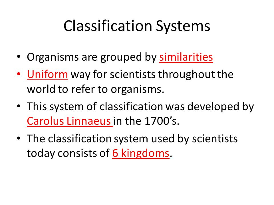 Classification Systems Organisms are grouped by similarities Uniform way for scientists throughout the world to refer to organisms. This system of cla
