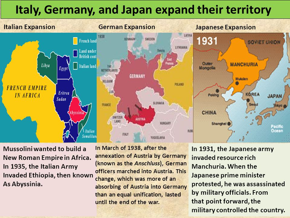 Italy, Germany, and Japan expand their territory Mussolini wanted to build a New Roman Empire in Africa. In 1935, the Italian Army Invaded Ethiopia, t