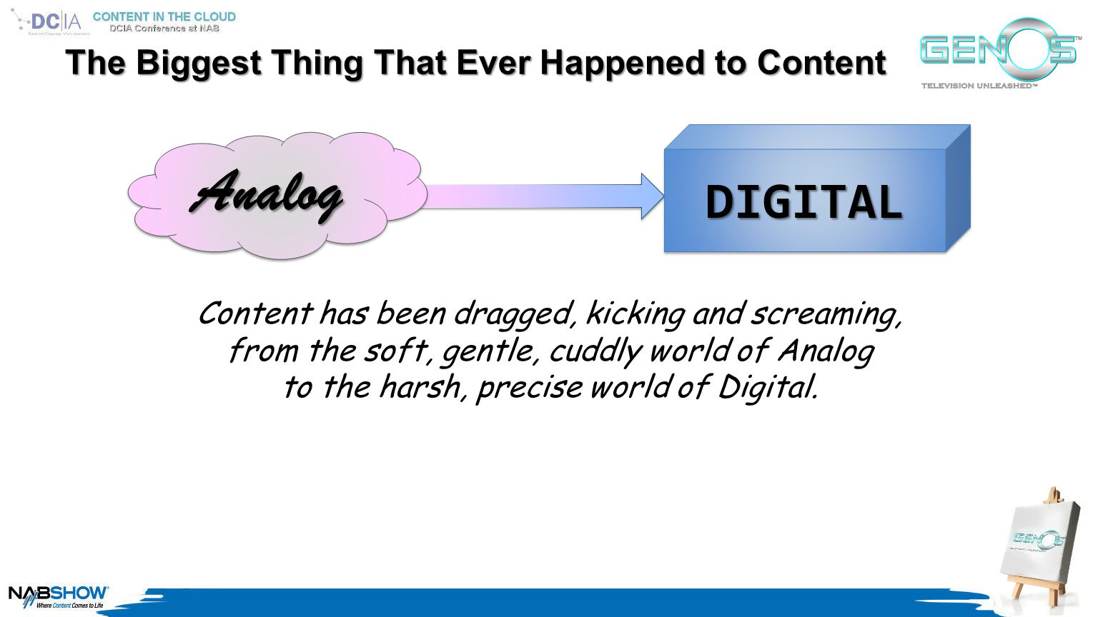 AnalogAnalog DIGITALDIGITAL The Biggest Thing That Ever Happened to Content Content has been dragged, kicking and screaming, from the soft, gentle, cuddly world of Analog to the harsh, precise world of Digital.