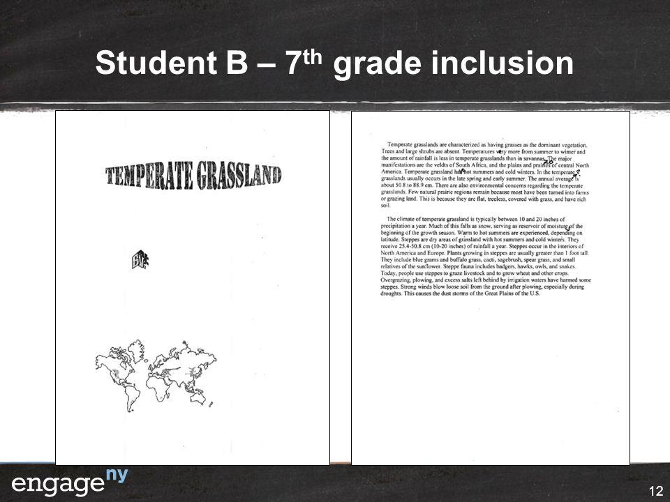 Student B – 7 th grade inclusion 12