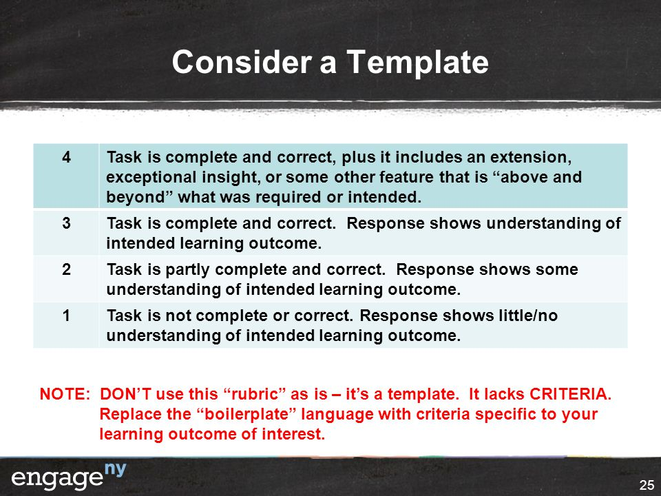 """Consider a Template 4Task is complete and correct, plus it includes an extension, exceptional insight, or some other feature that is """"above and beyond"""