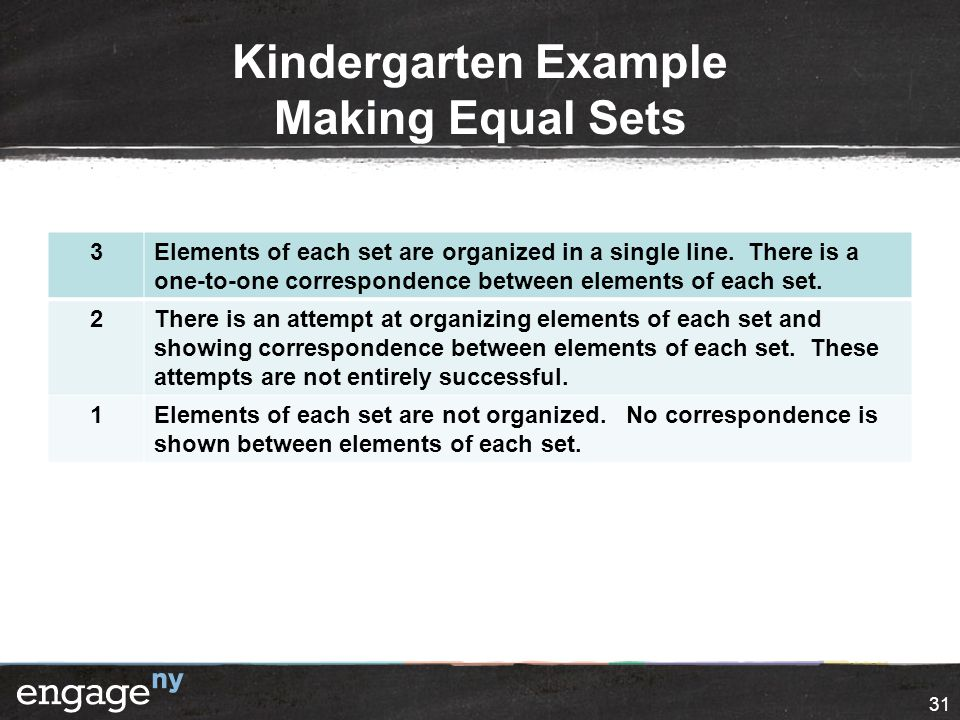 Kindergarten Example Making Equal Sets 3Elements of each set are organized in a single line.