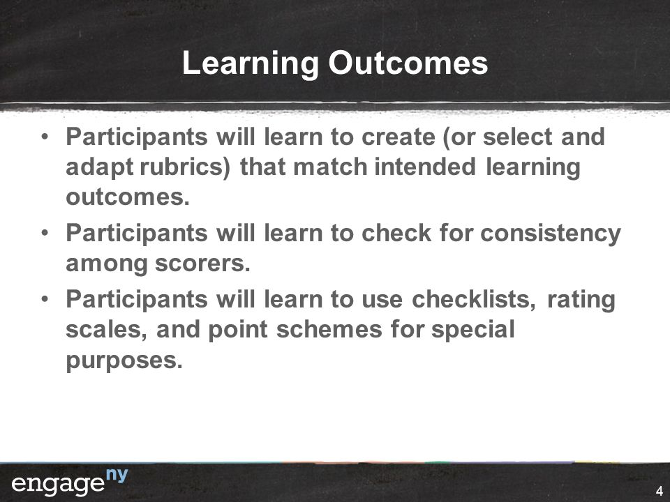 Learning Outcomes Participants will learn to create (or select and adapt rubrics) that match intended learning outcomes.