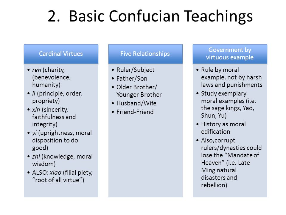 2. Basic Confucian Teachings Cardinal Virtues ren (charity, (benevolence, humanity) li (principle, order, propriety) xin (sincerity, faithfulness and