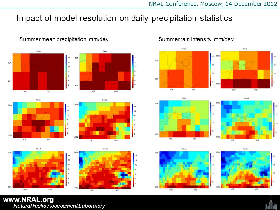 www.NRAL.org Natural Risks Assessment Laboratory NRAL Conference, Moscow, 14 December 2012 Impact of model resolution on daily precipitation statistics Summer mean precipitation, mm/daySummer rain intensity, mm/day