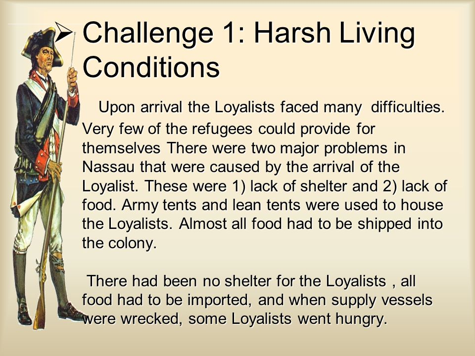  Challenge 1: Harsh Living Conditions Upon arrival the Loyalists faced many difficulties.