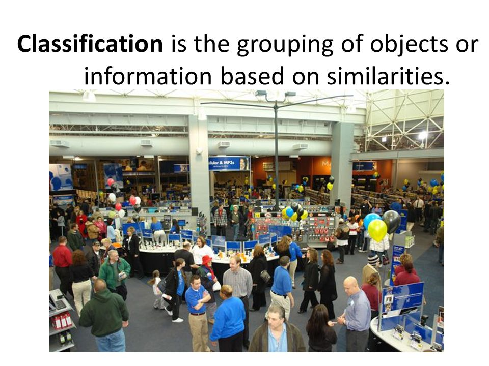 Classification is the grouping of objects or information based on similarities.