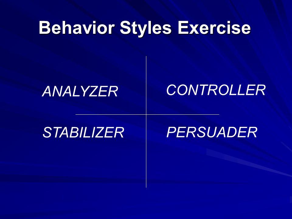 Behavior Styles Exercise ANALYZER CONTROLLER STABILIZER PERSUADER