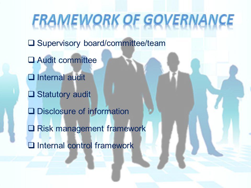  Supervisory board/committee/team  Audit committee  Internal audit  Statutory audit  Disclosure of information  Risk management framework  Internal control framework